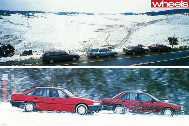 1988-Ford -Falcon -EA-26-vs -Holden -Commodore -VN-driving -snow