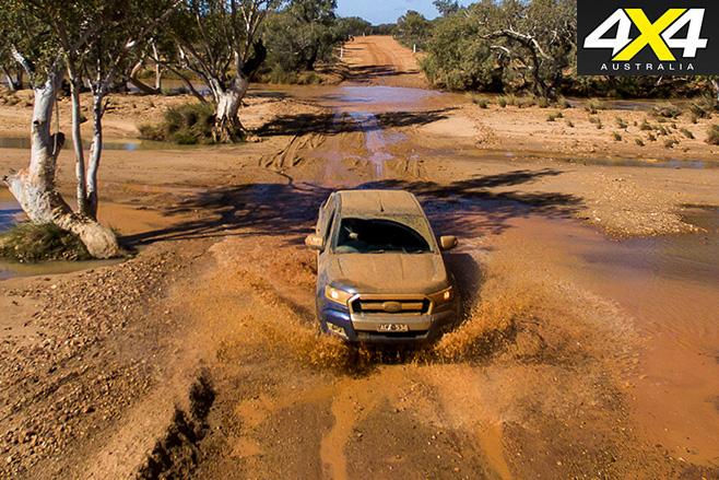 Ford Ranger driving through mud