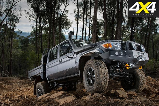 Toyota Land Cruiser 79 uphill driving
