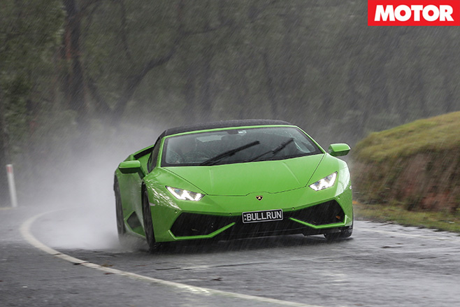 2016 Lamborghini Huracan Spyder front in rain