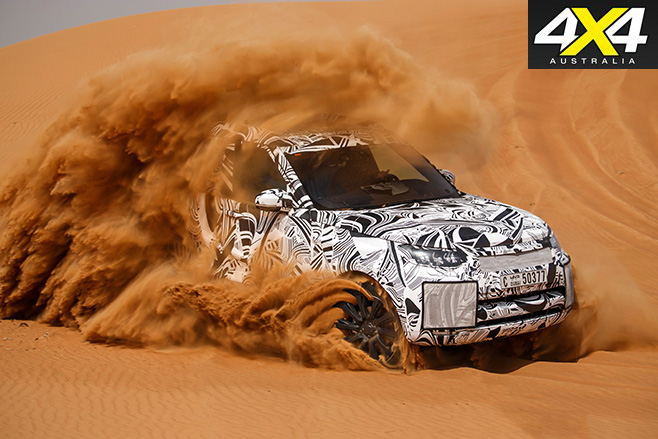 Fifth-gen Land Rover Discovery driving -desert