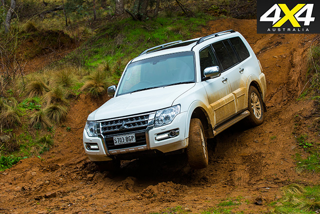 Pajero driving downhill
