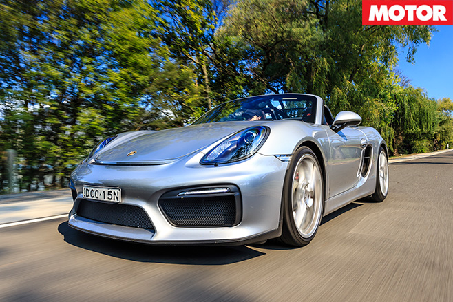 Porsche Boxster Spyder driving
