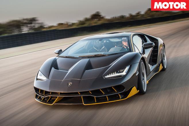 Lamborghini Centenario driving fast front