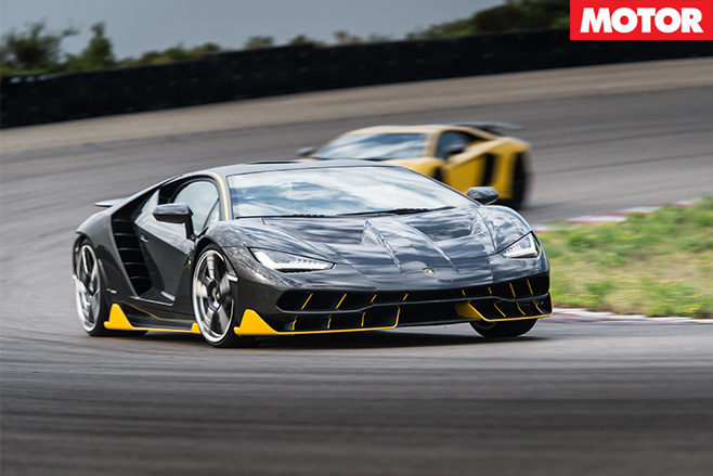 Beautiful Lamborghini Centenario driving hard