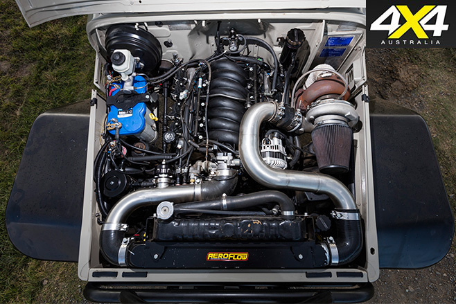 Custom Toyota FJ45 Troop Carrier engine bay