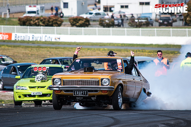 Performance car mania gold holden LX burnout