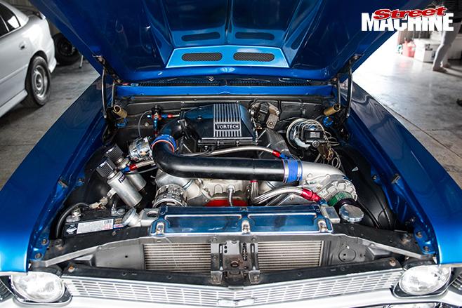 Performance car mania blue 1968 chevrolet nova engine bay