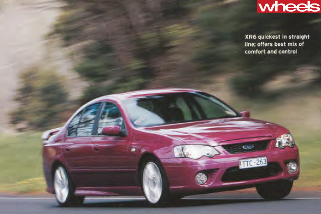 2005-Ford -BF-Falcon -vs -competitors -driving -front -track