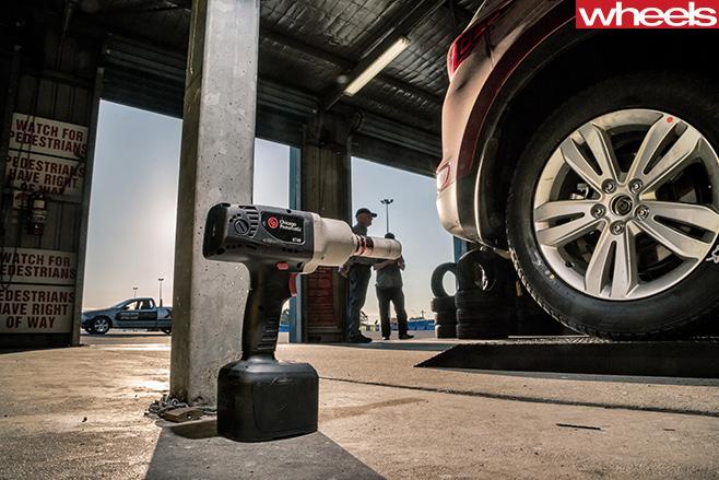 Drill -on -floor -on -automotive -workshop