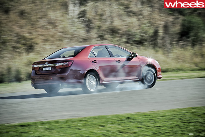2012-Toyota -Aurion -drifting -rear -side