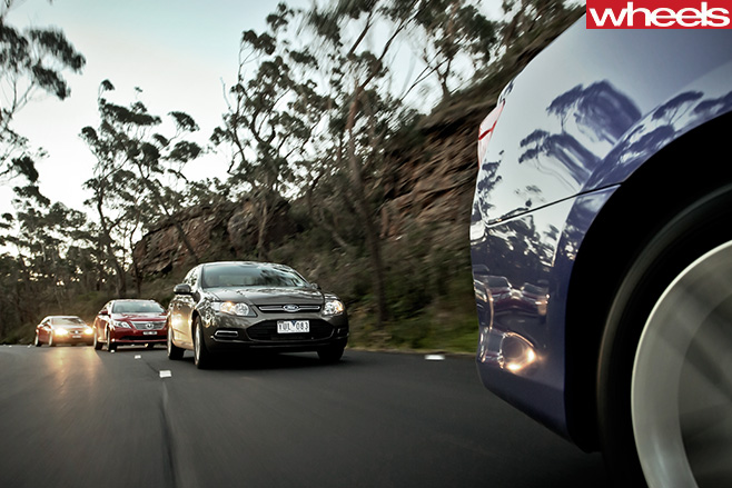 2012-Australian -sedans -driving -mega -test