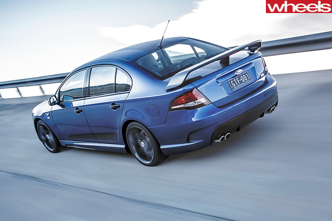 2014-Ford -Falcon -GT-F-driving -rear -side