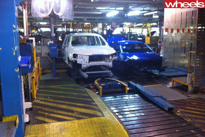 Final -Ford -Falcon -sedan -coming -off -Australian -production -line