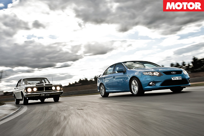 Ford XY Falcon GT HO vs FG Falcon XR6 driving