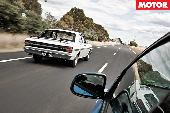 Ford XY Falcon GT-HO vs FG Falcon XR6 rear