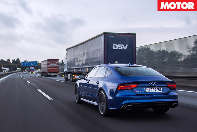 Driving Audi rS7 on a german freeway