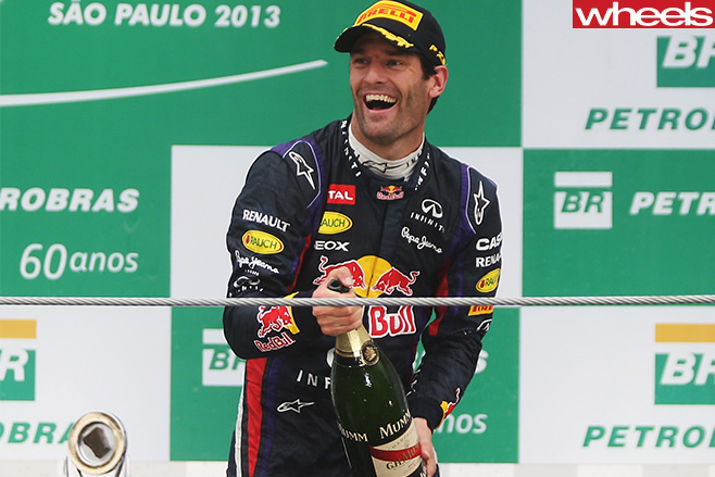 Mark Webber Red Bull celebration