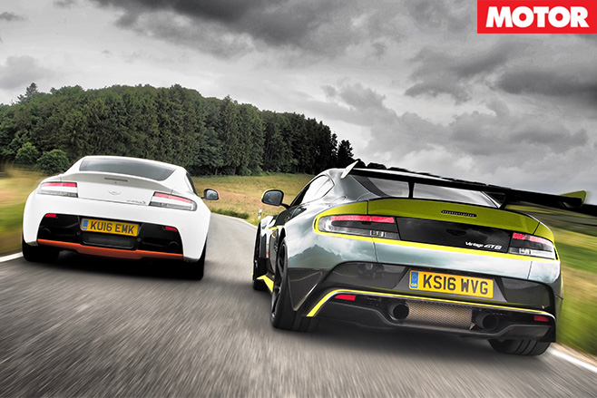 Aston Martin Vantages rear driving