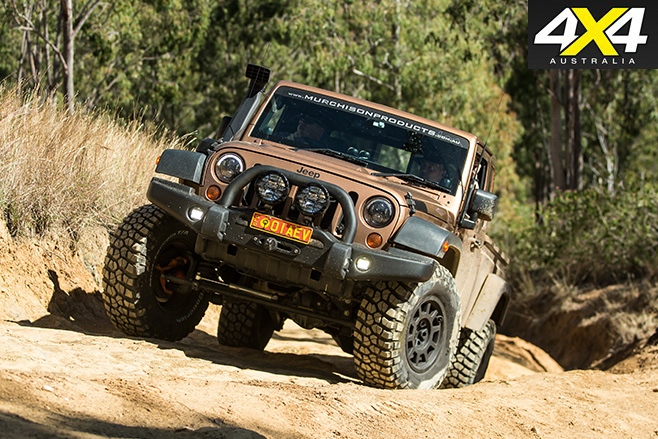 Murchison Jeep JK Wrangler Pick-up driving uphill
