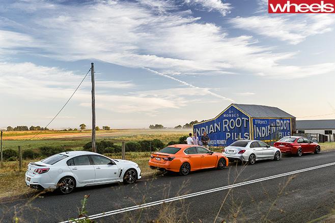 BMW-M3-vs -HSV-Clubsport -LSA-vs -Lexus -GS-F-vs -Mercedes -AMG-C63-S-parked