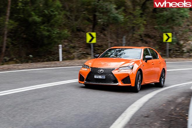 Lexus -GS-F-driving -around -corner