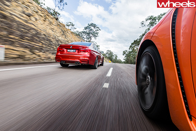 BMW M3 Vs Lexus GS-F Side View Driving