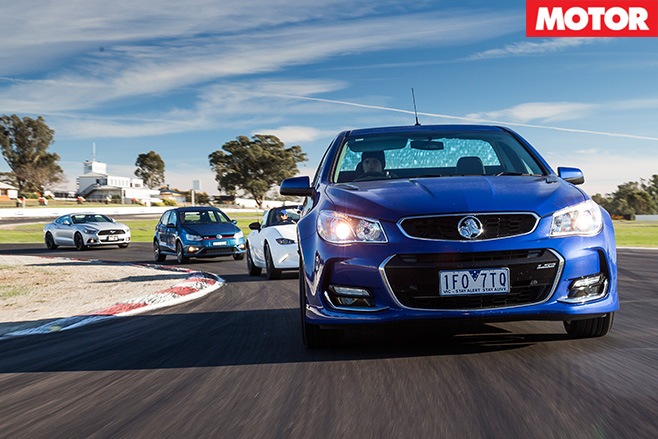 Holden SS ute driving front