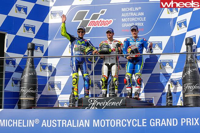 Moto Gp -riders -on -podium