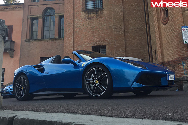 Ferrari -488-Spider -side -roof -down