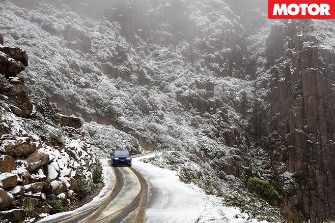 Range Rover SVR on mountain roads