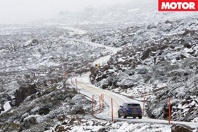 Ranger Rover SVR driving up snow