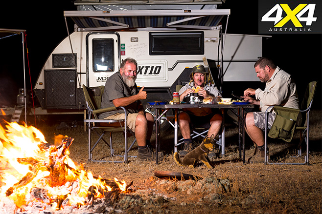 modern bush camping at night