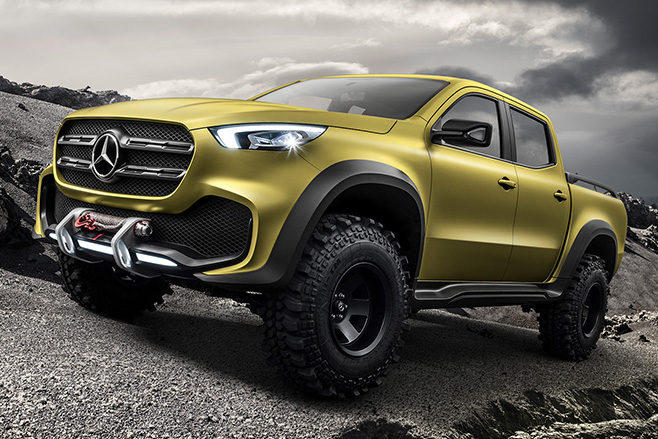 Yellow -Mercedes -Benz -utility -vehicle -front -side