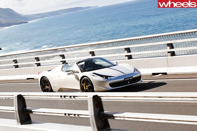 Ferrari -458-convertible -front -driving -highway