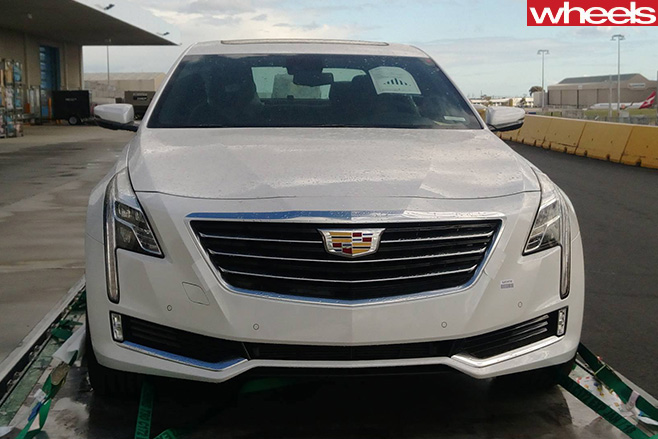 White -Cadillac -CT6-grille