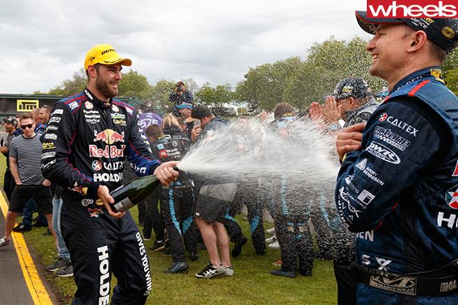Shane -Van -Gisbergen -celebrates -with -V8-Supercars -driver