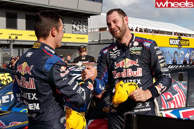 Shane -Van -Gisbergen -shaking -hard -with -V8-Supercars -driver