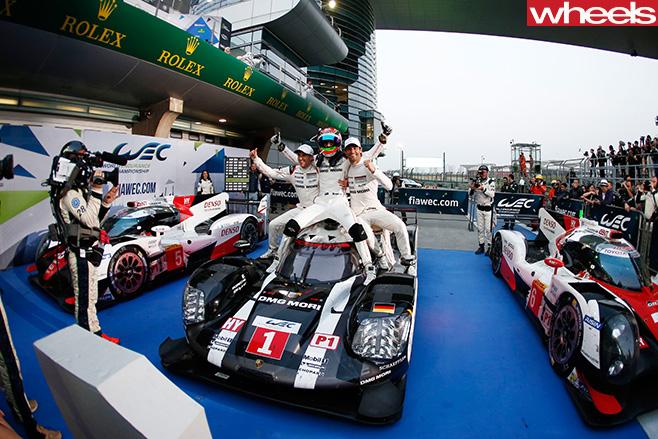 Mark -Webber -Porsche -celebrating -LMP1-WEC-win