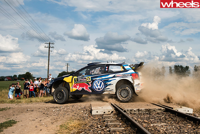Volkswagen -Polo -R-driving -over -train -tracks