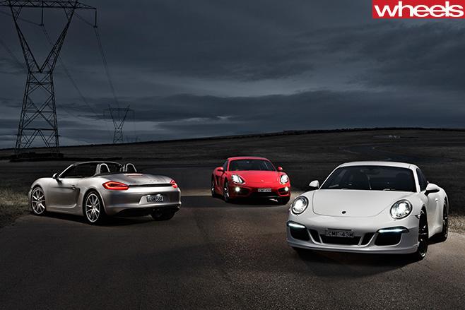 Porsche -Boxster -S-vs -Porsche -Cayman -vs -Porsche -911-Carrera -S-front