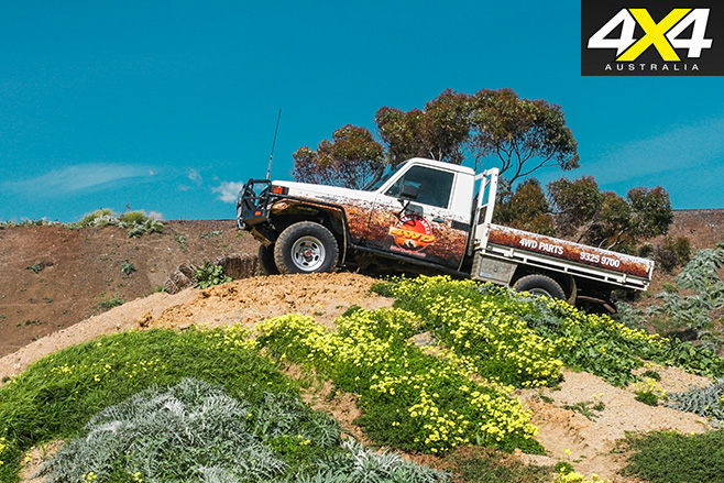 70-series LandCruiser driving in the Terrain Tamer 4WD course