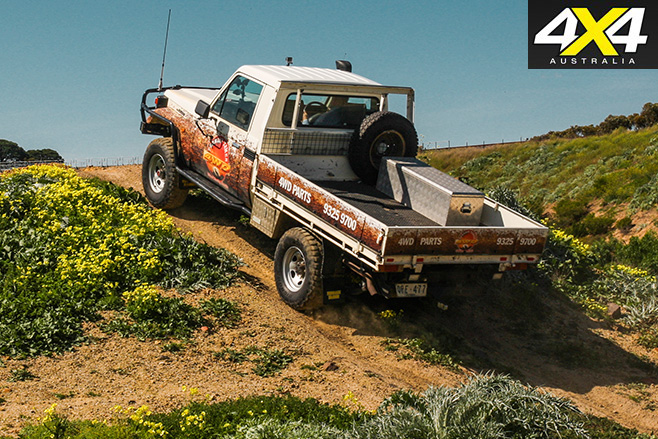 Driving uphill in the 70-Series LandCruiser