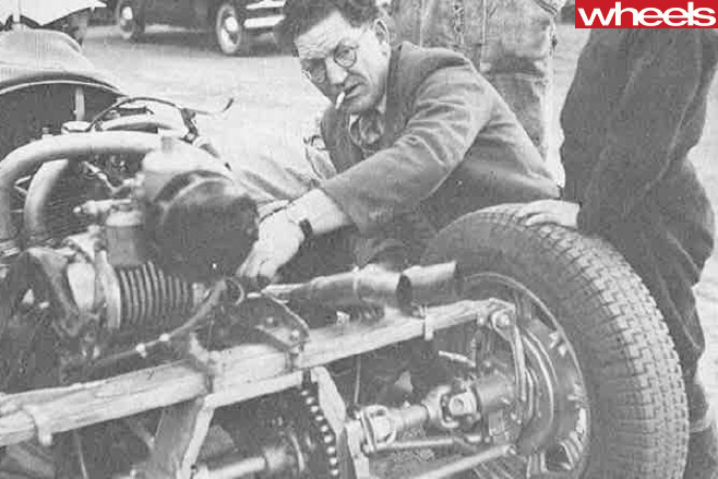Vincent -Motorcycle -engine -in -car -with -Phil -Irving