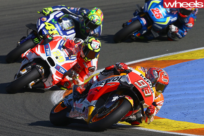Marc -Marquez -riding -Moto GP-corner