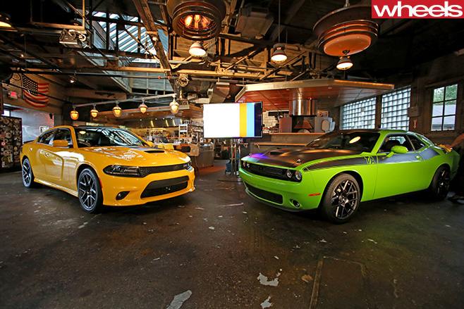 Dodge -Challenger -and -Dodge -Charger -in -garage