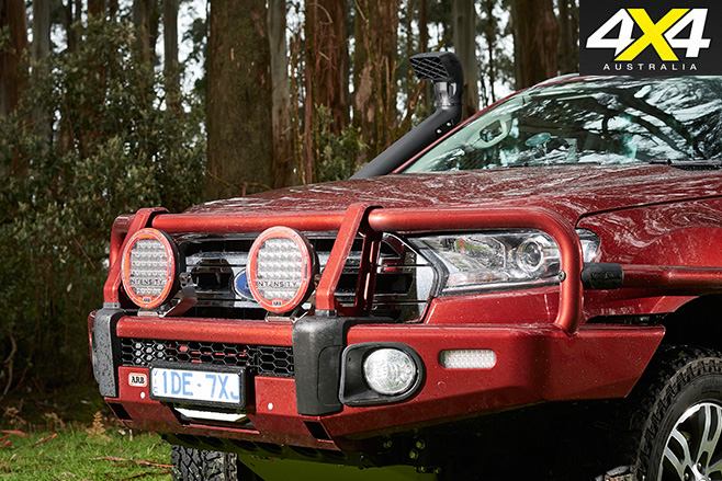 Ford everest receives arb treatment 4x4 australia the bullbar provides the mounting point for a warn zeon winch and arb intensity led lights we have criticised fords factory head lights and specifically aloadofball Image collections