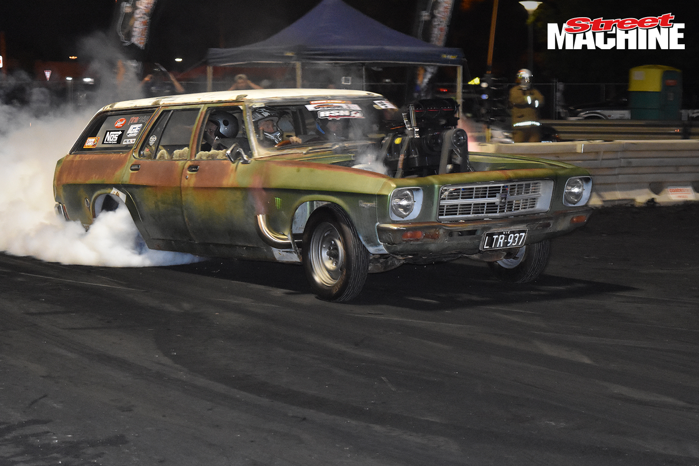 HQ Holden Wagon Blown Burnout 376