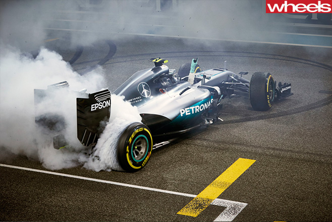 Rosberg title celebration burnout
