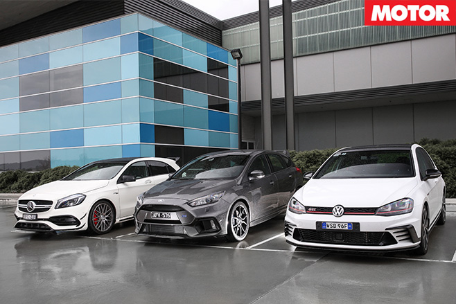 Ford Focus RS vs Mercedes-AMG A45 vs VW Golf GTI 40 Years parked